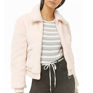 fluffy light pink teddy coat forever 21